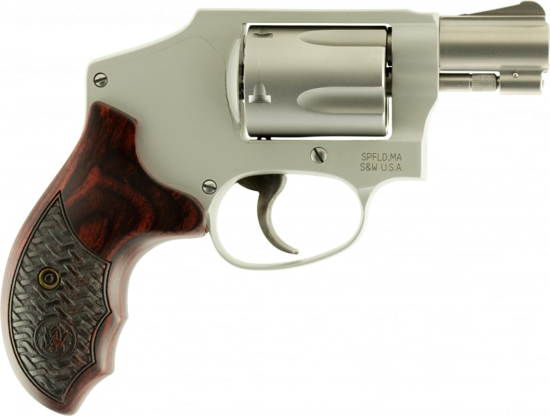 """Smith & Wesson 170348 642 Performance Center Double .38 Special +P 1.875"""" 5 Custom Wood Grip Matte Silver Finish Revolver"""