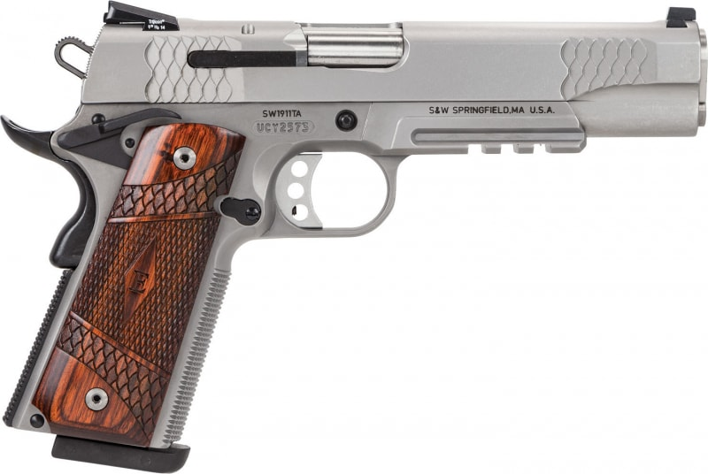 "Smith & Wesson 108411 1911 Single .45 ACP 5"" 8+1 Laminate Wood Grip Stainless"
