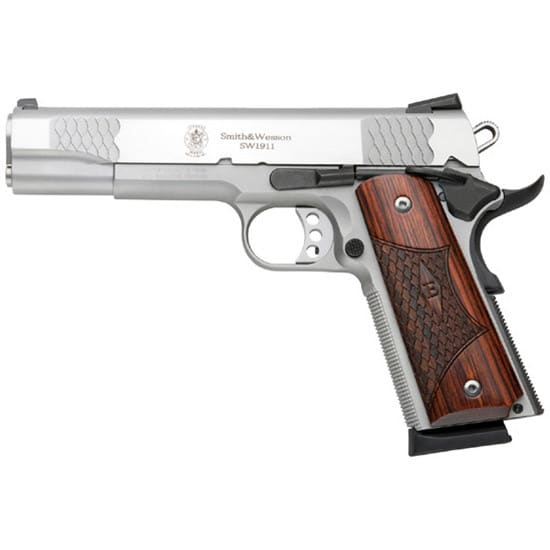 Smith & Wesson 108482 1911 45 ACP E Series 5 SS Wood Grips 8rd