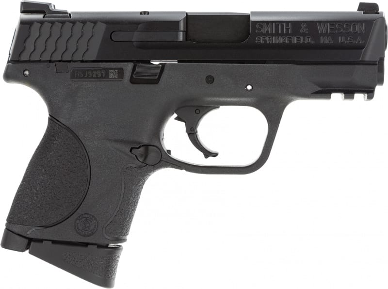 "Smith & Wesson 109254 M&P Compact State Compliant Double 9mm 3.5"" 10+1 Black Interchangeable Backstrap Grip Black"