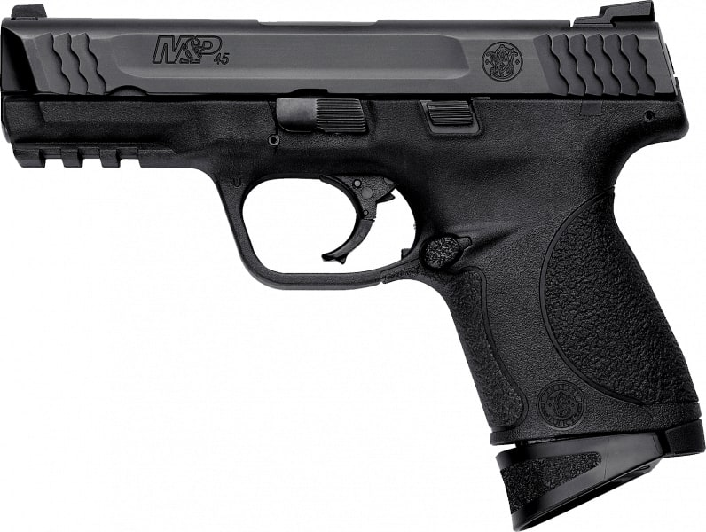 "Smith & Wesson 109358 M&P Compact MA Compliant Double .45 ACP 4"" 8+1 Black Poly Grip/Frame Black"