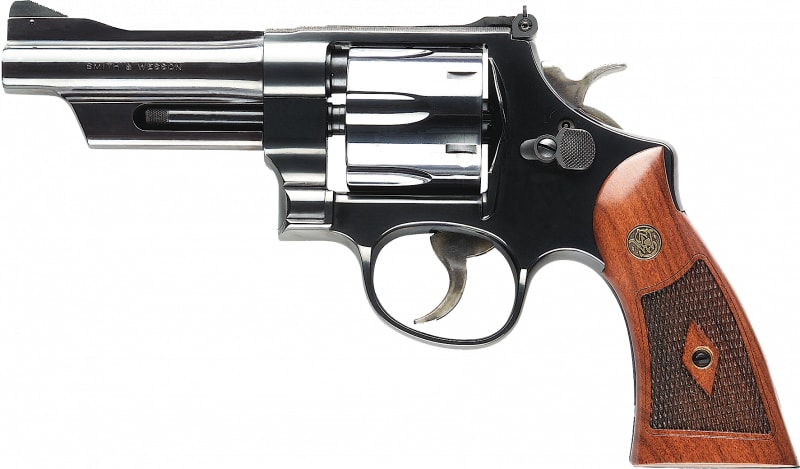 """Smith & Wesson 150339 27 Classic DA/SA .357 4"""" 6 Walnut Square Butt Blued Revolver"""