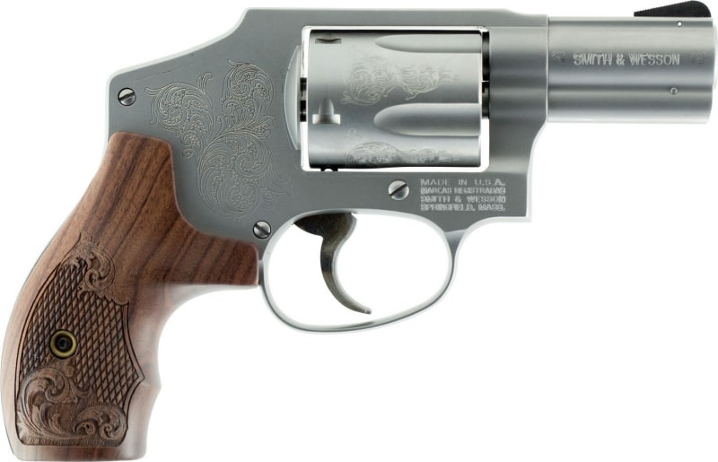 """Smith & Wesson 150784 640 Machine Engraved Double .357 2.1"""" 5 Engraved Wood Stainless Revolver"""