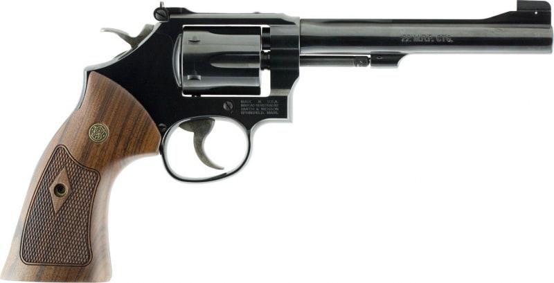 """Smith & Wesson 150718 48 Classic DA/SA .22 Mag 6"""" 6 Wood Blued Revolver"""