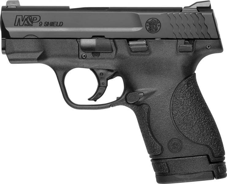 "Smith & Wesson 180051 M&P Shield *MA Compliant* Double 9mm 3.1"" 7+1/8+1 Black Polymer Grip Black"