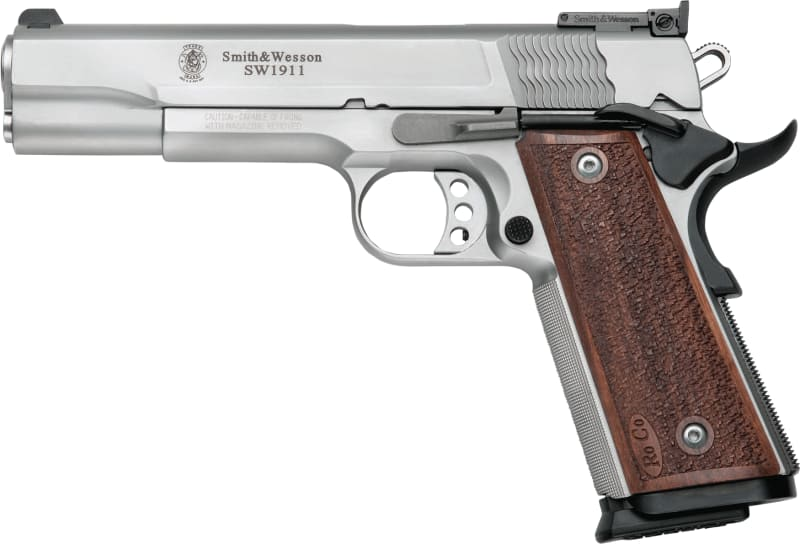 """Smith & Wesson 178047 1911 Pro Single 9mm 5"""" 10+1 Wood Grip Stainless"""