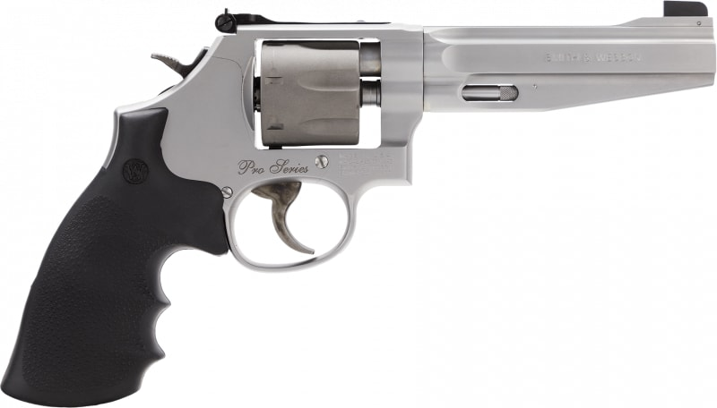 "Smith & Wesson 178055 986 Performance Center DA/SA 9mm 5"" 7rd SS Titanium Cylinder Revolver"