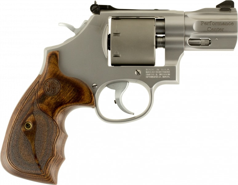 """Smith & Wesson 10227 986 Performance Center DA/SA 9mm 2.5"""" 7 Wood Stainless Revolver"""