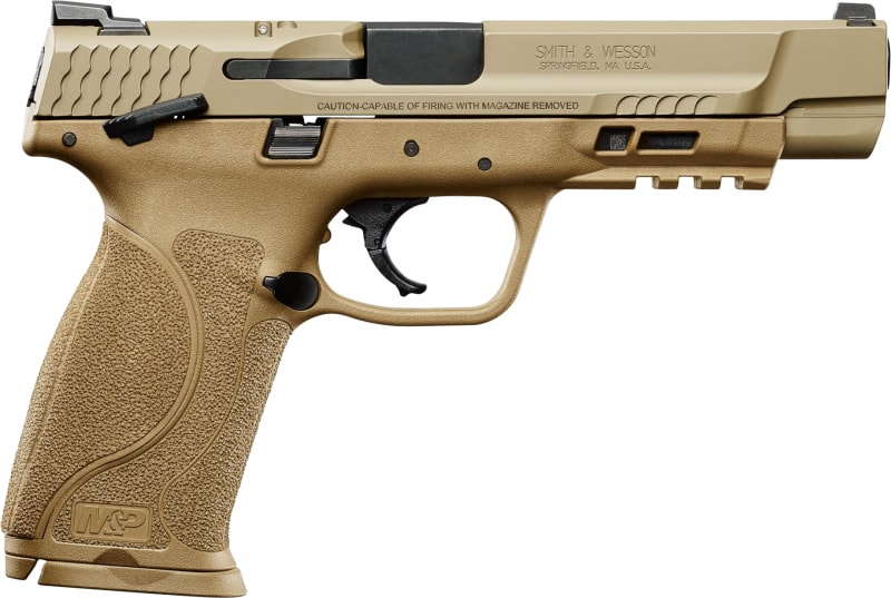 """Smith & Wesson 11537 M&P M2.0 Double 9mm 5"""" 17+1 TS 3Dot TS LCI Flat Dark Earth Interchangeable Backstrap Grip FDE Armonite Stainless Steel"""