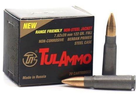 Tulammo UL076215 Range Safe 7.62X39 122gr FMJ Non-corrosive -1000 Rounds