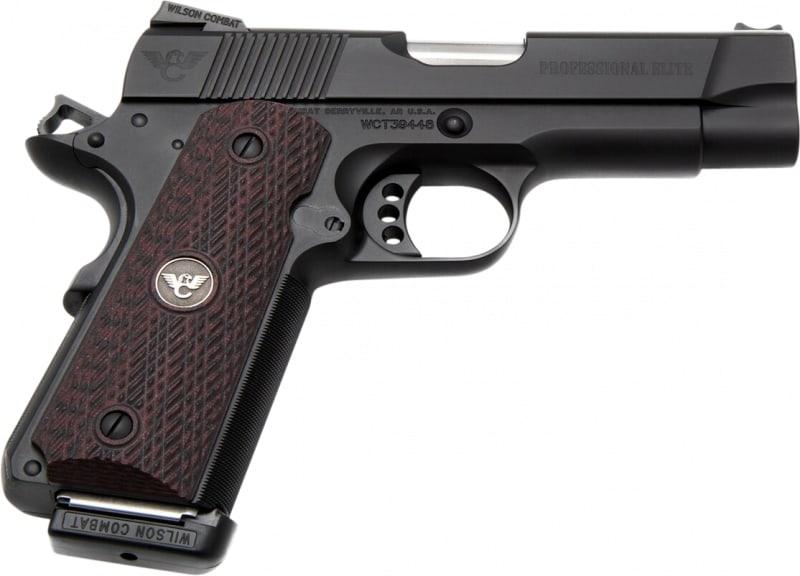 "Wilson Combat PROEPR45 1911 Professional Elite Single 4"" 8+1 Black Cherry G10 Grip Black"
