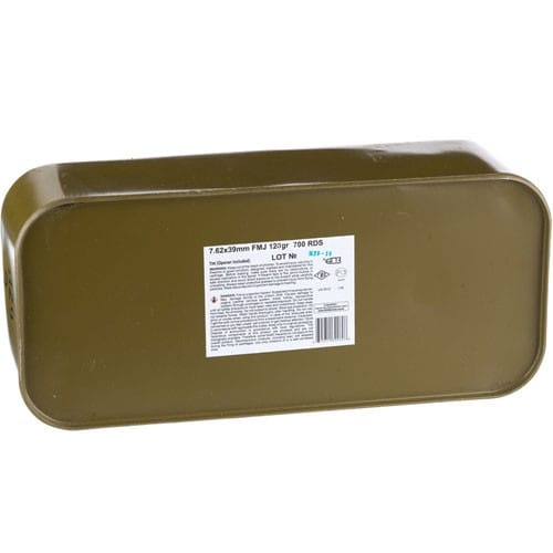 Barnaul 7.62X39 In Sealed Tin - 123 Grain, Full Metal Jacket, Steel Case, Laquer Coated, Non-Corrosive - 700 Round Tin