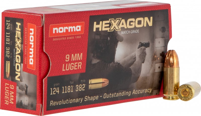 Norma 299140050 9mm 124 Hexagon - 50rd Box