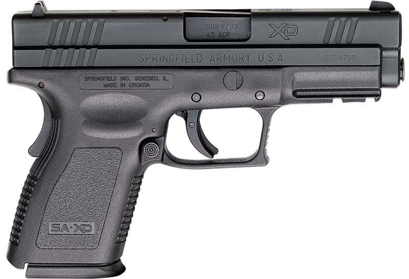 "Springfield Armory XD9645 XD Compact *CA Compliant* Double .45 ACP 4"" 10+1 Black Polymer Grip/Frame Grip Black Melonite"
