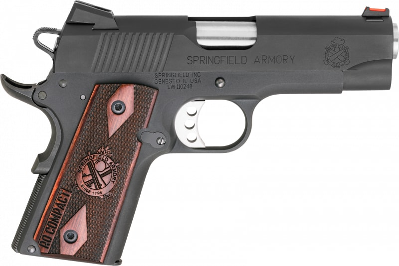 "Springfield Armory PI9126L 1911 Single 45 ACP 4"" 6+1 Rosewood Grip Black Parkerized"