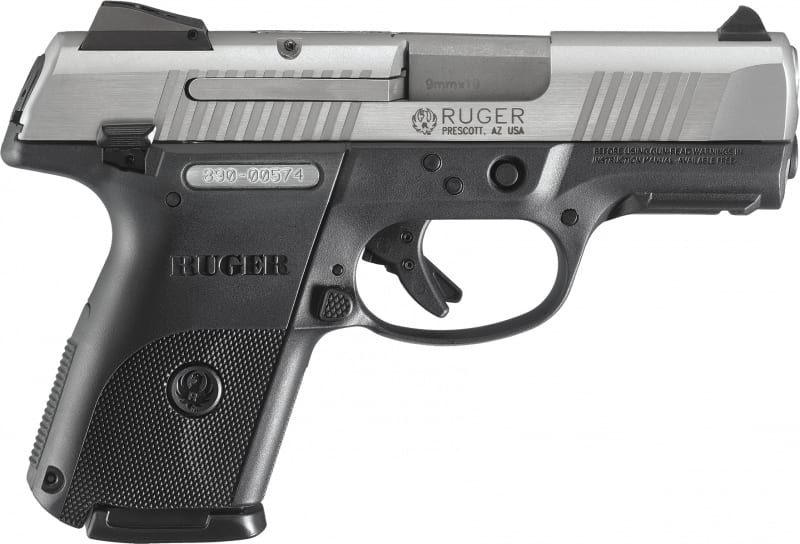 """Ruger 3316 KSR9C10L Compact DAO 9mm 3.4"""" 10+1 Black Poly Grip Brushed Stainless"""