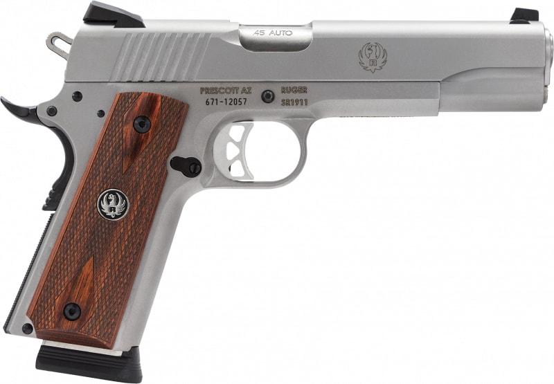"Ruger 6700 SR1911 Standard 45 ACP 5"" 8+1 Slim Hardwood Grip Low-Glare Stainless"