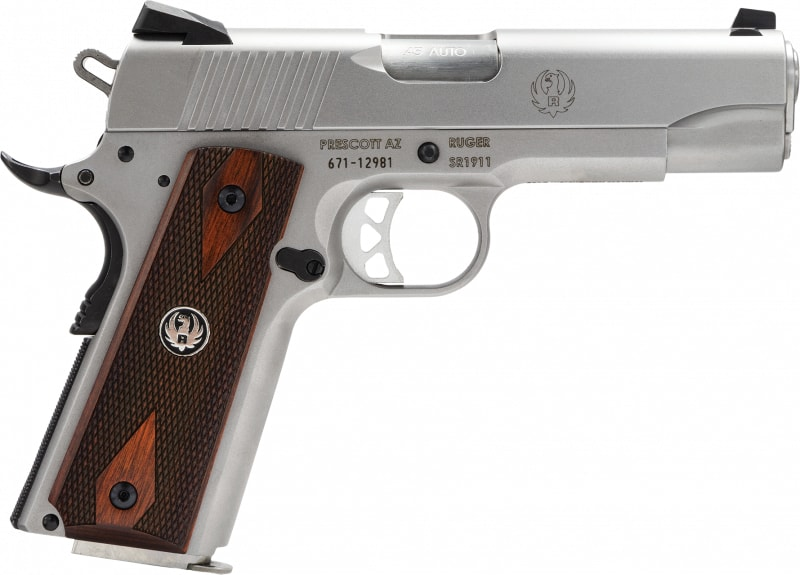 """Ruger 6702 SR1911 Standard 45 ACP 4.25"""" 8+1 Wood Grips Stainless Finish"""