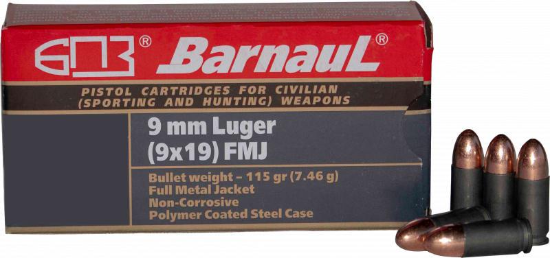 Barnaul 9MM Luger Case, FMJ 115 Grain, Non-Corrosive 50 Rounds / Box - 500 Round Case