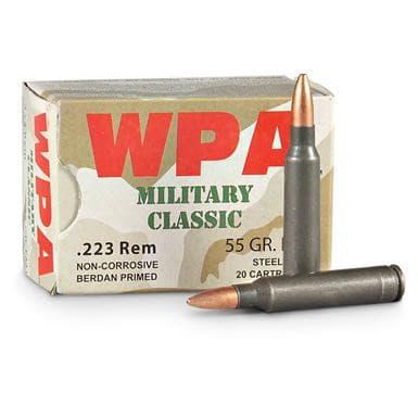Wolf MC22355HP Military Classic .223 55 GR HP Ammo - 500rd Case