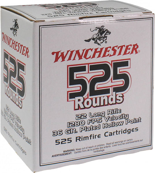 Winchester Ammo 22LR525HP 555 22 Long Rifle 36 GR Copper-Plated Hollow Point - 5250rd Case