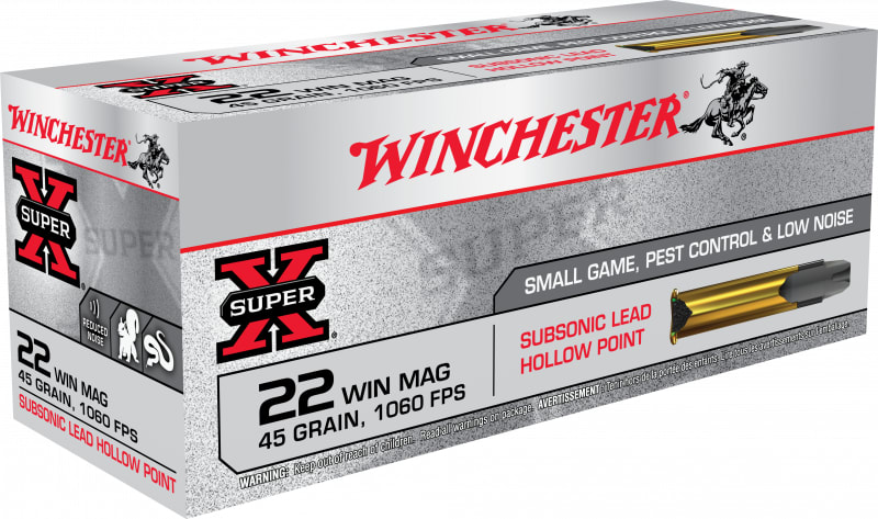 Winchester Ammo X22MSUB Super-X 22 WMR 45 GR Jacketed Hollow Point - 50rd Box