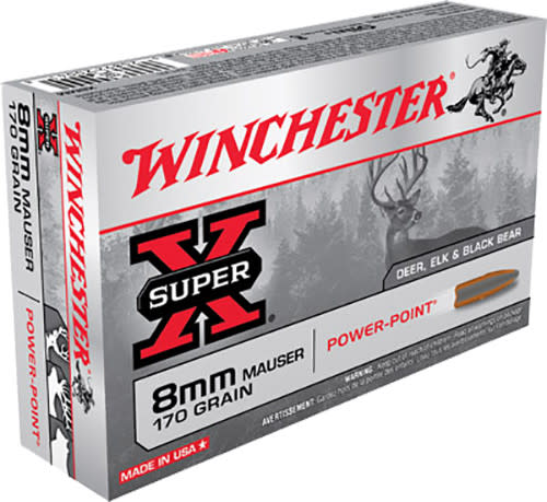Winchester Ammo X8MM Super-X 8mm Mauser 170  GR Power-Point - 20rd Box