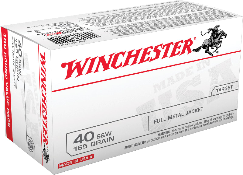 Winchester Ammo USA40SWVP Best Value 40 Smith & Wesson (S&W) 165 GR Full Metal Jacket - 100rd Box