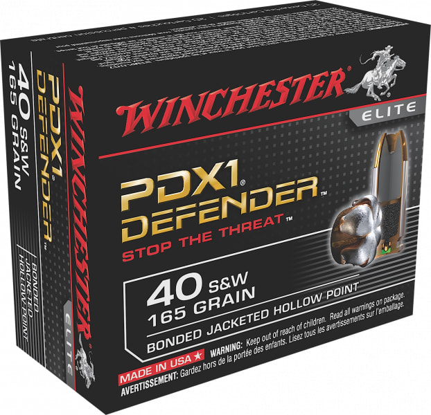 Winchester Ammo S40SWPDB Elite 40 Smith & Wesson (S&W) 165 GR Bonded Jacket Hollow Point - 20rd Box