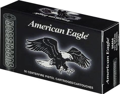 Federal AE9SUP1 American Eagle Suppressor 9mm Luger 124 GR FMJ - 50rd Box
