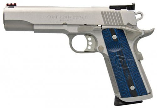 """Colt Gold Cup 1911 45 ACP Pistol, 5"""" 8rd Blue G10 Grip Stainless Steel - O5070XE"""
