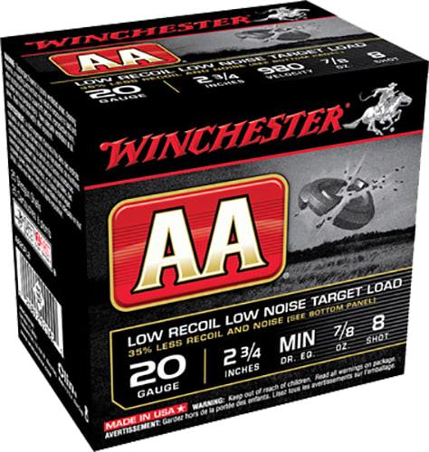 """Winchester Ammo AA20FL8 AA Target Loads 20GA 2.75"""" 7/8oz #8 Shot - 250sh Case"""