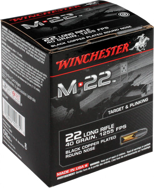 Winchester Ammo S22LRT M-22 22 Long Rifle 40 GR Lead Round Nose - 2000rd Case