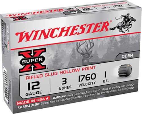 """Winchester Ammo X123RS15 Super-X 12GA 3"""" 1oz Slug Shot - 5sh Box"""