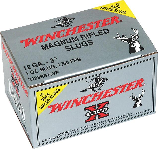 """Winchester Ammo X123RS15VP Super-X 12GA 3"""" 1oz Slug Shot - 15sh Box"""