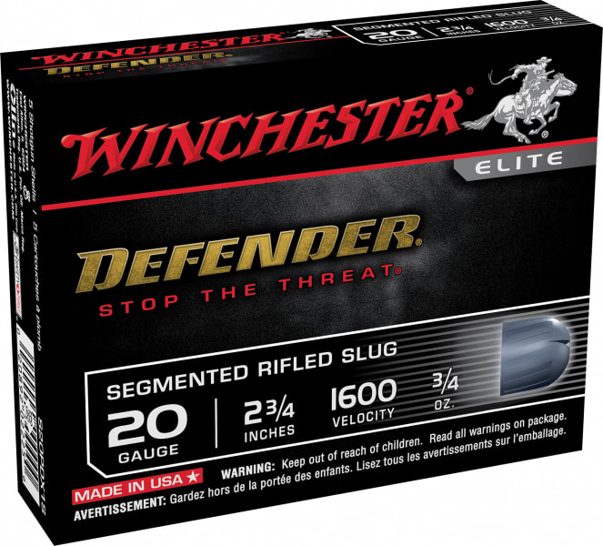 "Winchester Ammo S20PDX1S Defender 20GA 2.75"" 3/4oz Slug Shot - 5sh Box"