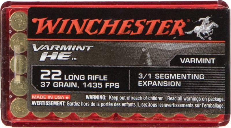 Winchester Ammo S22LRFSP Varmint HE 22 Long Rifle (LR) 37 GR Hollow Point 3/1 Segmenting Core - 50rd Box