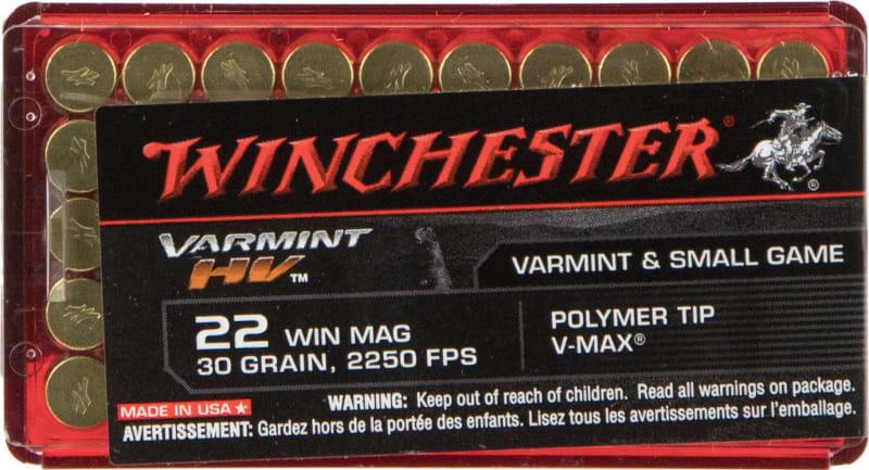 Winchester Ammo S22M2PT Varmint HV 22 WMR 30 GR V-Max - 50rd Box