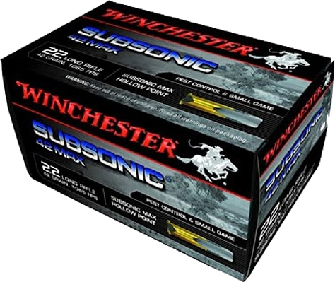 Winchester Ammo W22SUB42U 42 Max 22 Long Rifle 42 GR SubSonic Hollow Point - 50rd Box