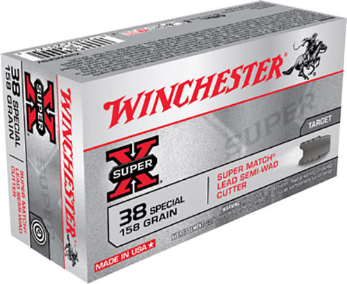 Winchester Ammo X38WCPSV Super-X 38 Special 158 GR Lead Semi-Wadcutter - 50rd Box