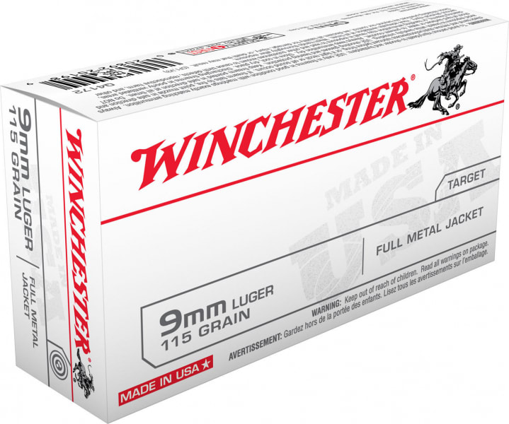 Winchester Ammo Q4172 Best Value 9mm Luger 115 GR Full Metal Jacket - 50rd Box