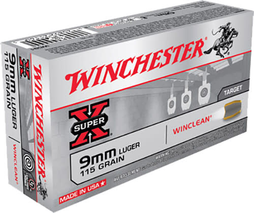 Winchester Ammo WC91 WinClean 9mm Luger 115 GR Brass Enclosed Base - 50rd Box