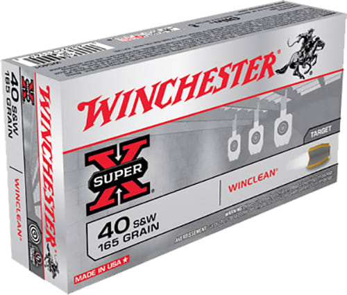 Winchester Ammo WC401 WinClean 40 Smith & Wesson 165 GR Brass Enclosed Base - 50rd Box