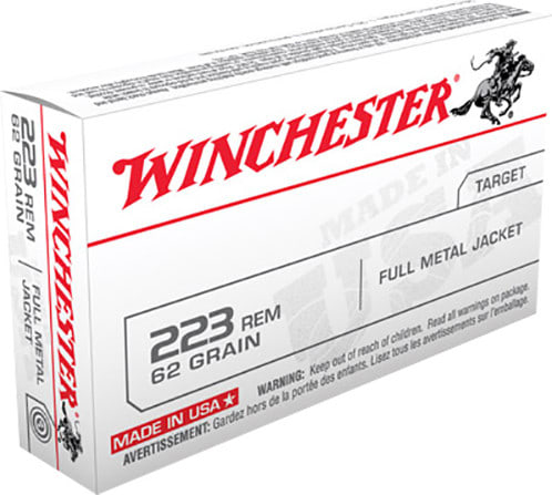 Winchester Ammo USA223R3 Best Value .223/5.56 NATO 62 GR Full Metal Jacket - 20rd Box