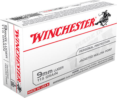 Winchester Ammo USA9JHP Best Value 9mm Luger 115 GR Jacketed Hollow Point - 50rd Box