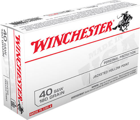 Winchester Ammo USA40JHP Best Value 40 Smith & Wesson 180 GR Jacketed Hollow Point - 50rd Box