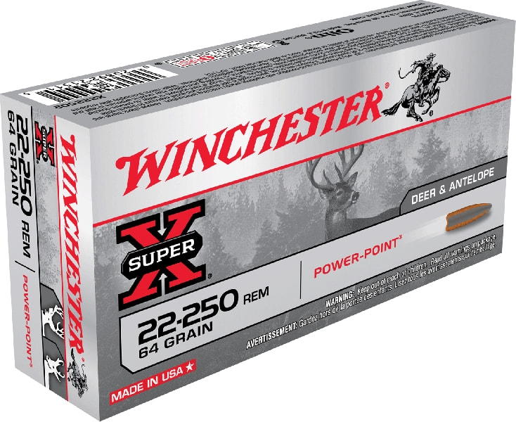 Winchester Ammo X222502 Super-X 22-250 Remington 64 GR Power-Point - 20rd Box