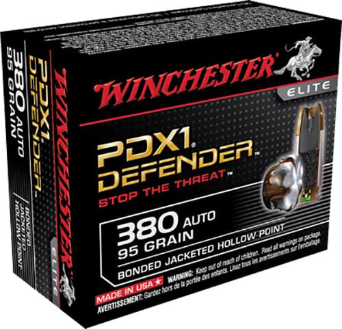 Winchester Ammo S380PDB Elite 380 ACP 95 GR Bonded Jacket Hollow Point - 20rd Box