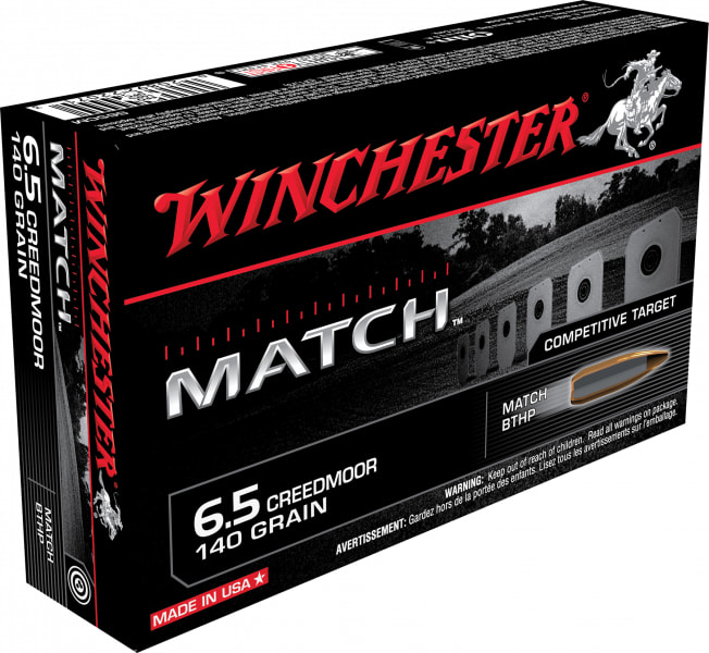 Winchester Ammo S65CM Match 6.5 Creedmoor 140 GR Hollow Point Boat Tail - 20rd Box