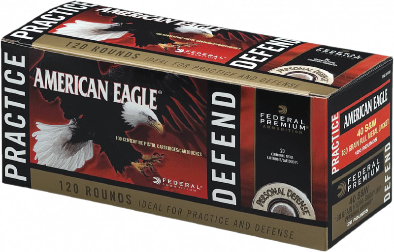 Federal PAE40180 American Eagle 40 Smith & Wesson (S&W) 180 GR Full Metal Jacket/Hydro-Shok Jacketed Hollow Point - 120rd Box